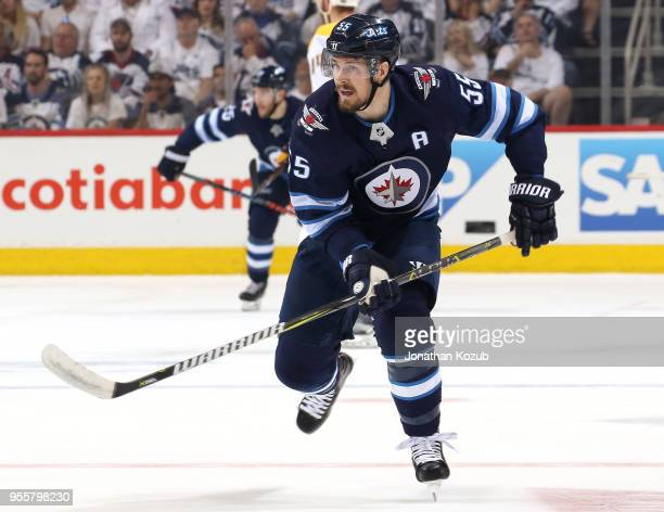 Mark Scheifele of the Winnipeg Jets follows the play down the ice during first period action against the Nashville Predators in Game Six of the...