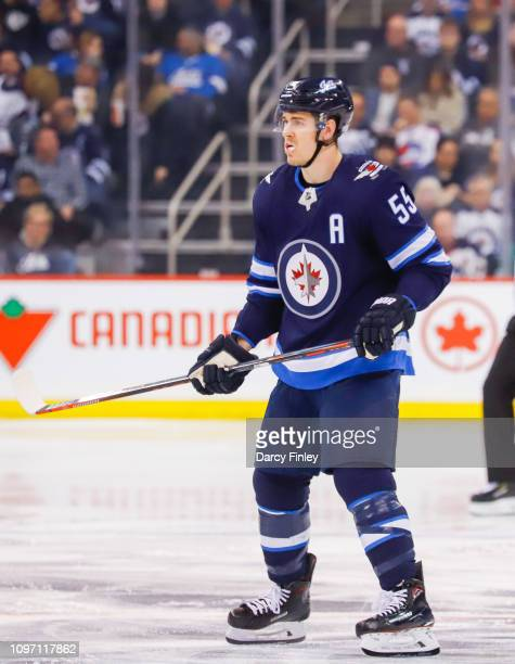Mark Scheifele of the Winnipeg Jets keeps an eye on the play during second period action against the Vegas Golden Knights at the Bell MTS Place on...