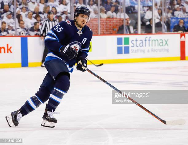 Mark Scheifele of the Winnipeg Jets keeps an eye on the play during second period action against the St Louis Blues in Game Two of the Western...