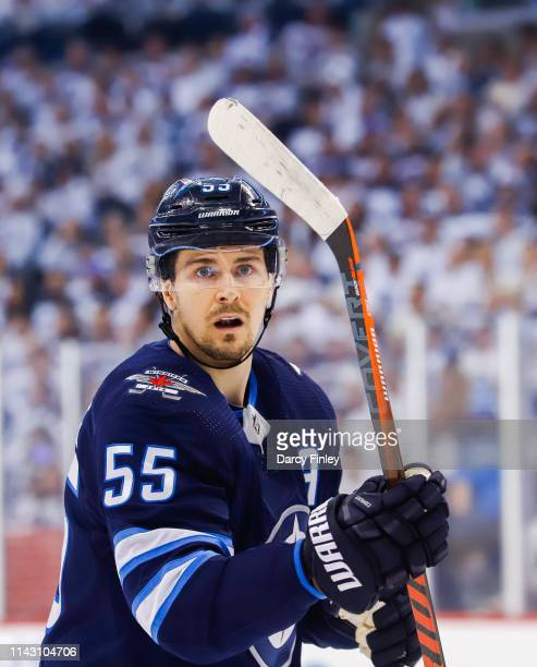 Mark Scheifele of the Winnipeg Jets keeps an eye on the play during first period action against the St Louis Blues in Game Two of the Western...