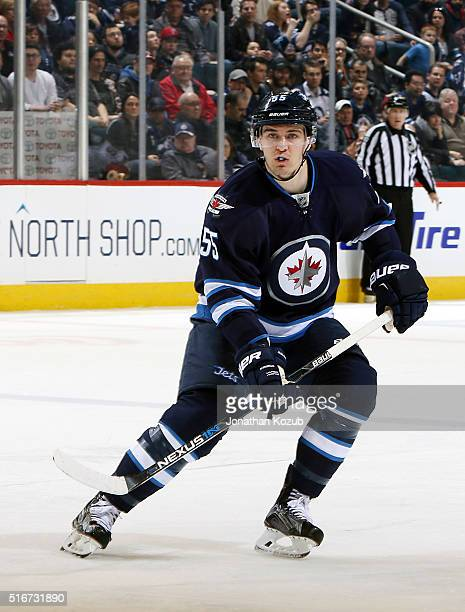 Mark Scheifele of the Winnipeg Jets keeps an eye on the play during second period action against the Anaheim Ducks at the MTS Centre on March 20 2016...