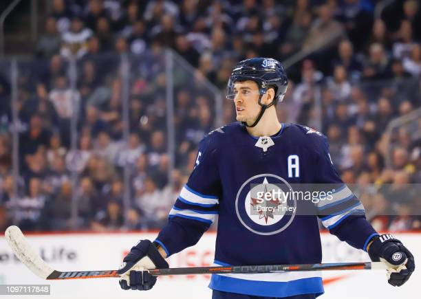 Mark Scheifele of the Winnipeg Jets looks on during a first period stoppage in play against the Vegas Golden Knights at the Bell MTS Place on January...