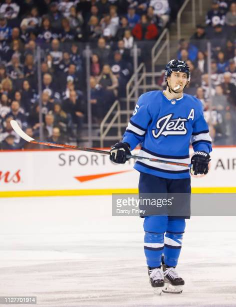 Mark Scheifele of the Winnipeg Jets looks on during a second period stoppage in play against the Anaheim Ducks at the Bell MTS Place on February 2...