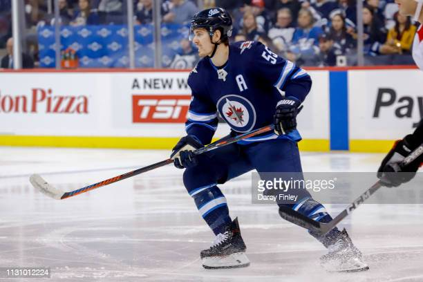 Mark Scheifele of the Winnipeg Jets looks on during first period action against the Ottawa Senators at the Bell MTS Place on February 16 2019 in...