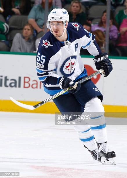 Mark Scheifele of the Winnipeg Jets skates against the Dallas Stars at the American Airlines Center on November 6 2017 in Dallas Texas