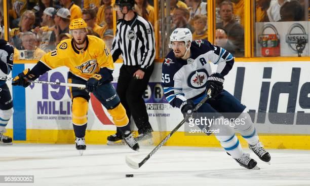 Mark Scheifele of the Winnipeg Jets skates against the Nashville Predators in Game Two of the Western Conference Second Round during the 2018 NHL...