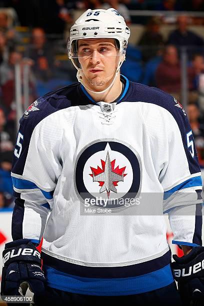 Mark Scheifele of the Winnipeg Jets skates against the New York Islanders at Nassau Veterans Memorial Coliseum on October 28 2014 in Uniondale New...