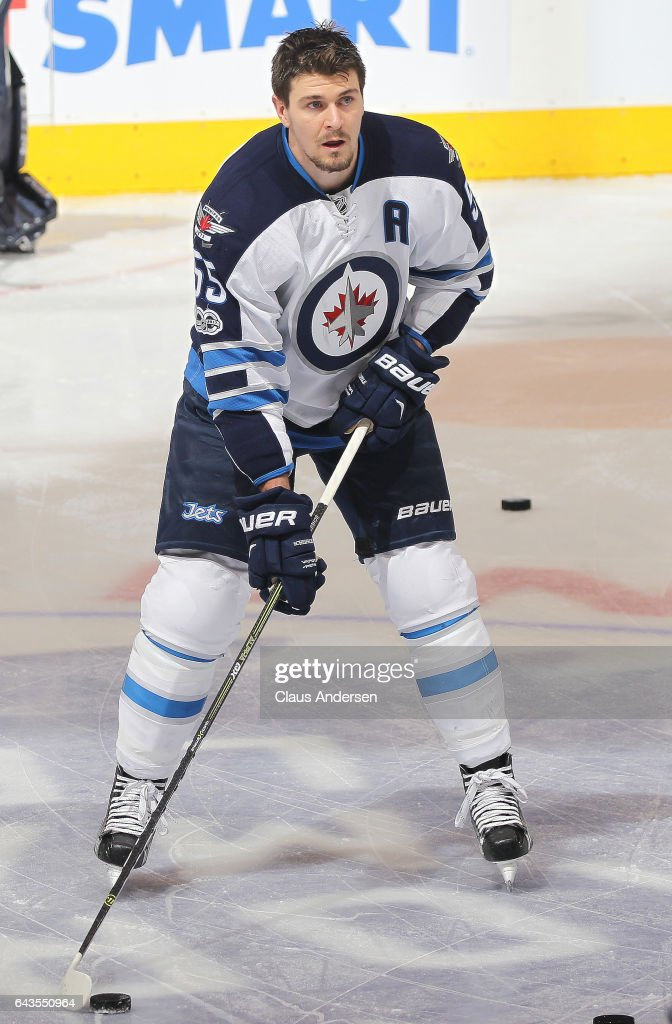 Mark Scheifele #55 of the Winnipeg Jets skates during the warm-up prior to playing against the Toronto Maple Leafs in an NHL game at Air Canada Centre on February 21, 2017 in London, Ontario, Canada.