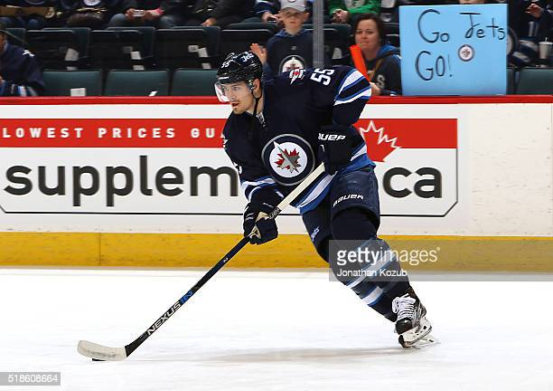 Mark Scheifele of the Winnipeg Jets takes part in the pregame warm up prior to NHL action against the Chicago Blackhawks at the MTS Centre on April 1...