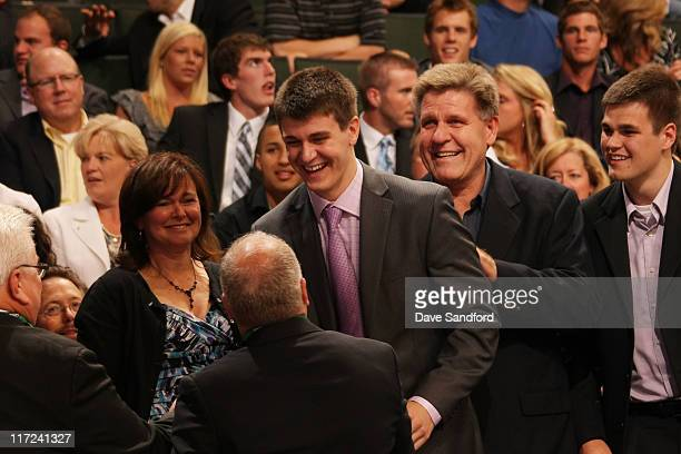 Mark Scheifele stands after being selected seventh overall by the Winnipeg Jets during day one of the 2011 NHL Entry Draft at Xcel Energy Center on...