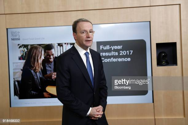 Mark Schneider chief executive officer of Nestle SA departs a news conference announcing the company's full year results in Vevey Switzerland on...
