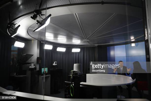 Mark Schneider chief executive officer of Nestle SA gestures as he speaks during a Bloomberg Television interview ahead of a news conference...