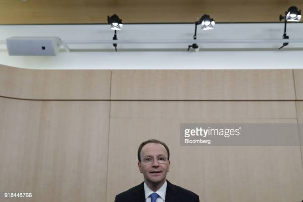 Mark Schneider chief executive officer of Nestle SA looks on ahead of a news conference announcing the company's full year results in Vevey...