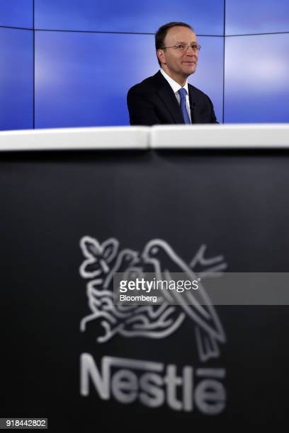 Mark Schneider chief executive officer of Nestle SA looks on during a Bloomberg Television interview ahead of a news conference announcing the...