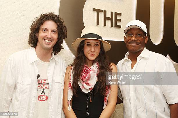 Mark Schwahn Vanessa Carlton and Leonard Richardson Exec VP of Music pose at The CW Network offices on July 25 2007 in Burbank California