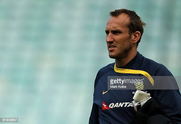 Mark Schwarzer arrives for an Australian Socceroos training session at the Sydney Football Stadium on October 9 2009 in Sydney Australia