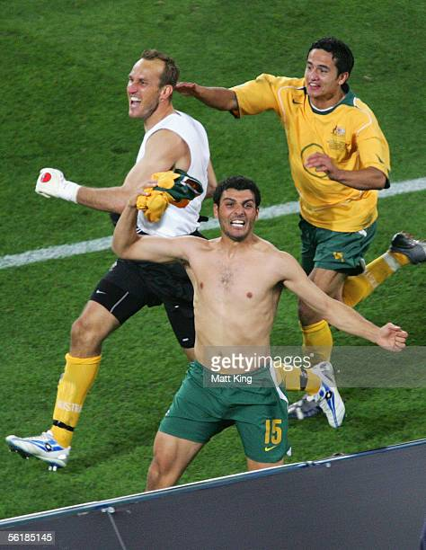 Mark Schwarzer John Aloisi and Tim Cahill of Australia celebrate victory in the penalty shootout during the second leg of the 2006 FIFA World Cup...