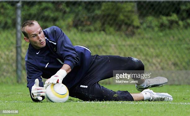 Mark Schwarzer makes a save during the Socceroos Training Camp ahead of the World Cup qualifying match with the Soloman Islands at the Golden Tulip...
