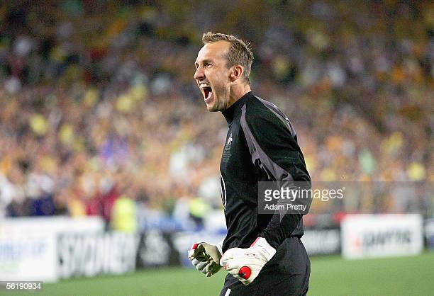 Mark Schwarzer of Australia celebrates saving a penalty in the shoot-out during the second leg of the 2006 FIFA World Cup qualifying match between...
