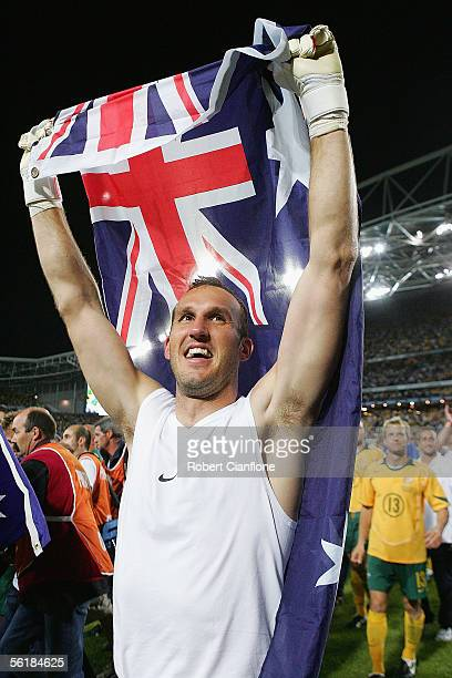 Mark Schwarzer of Australia celebrates victory after the second leg of the 2006 FIFA World Cup qualifying match between Australia and Uruguay at...
