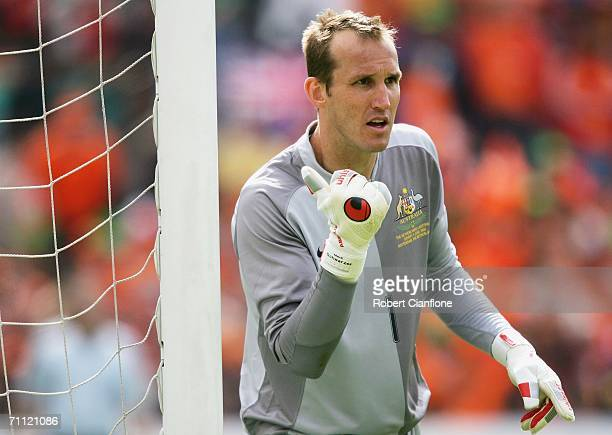 Mark Schwarzer of Australia gives instructions during the international friendly match between Netherlands and Australia at De Kuip Stadium June 4...