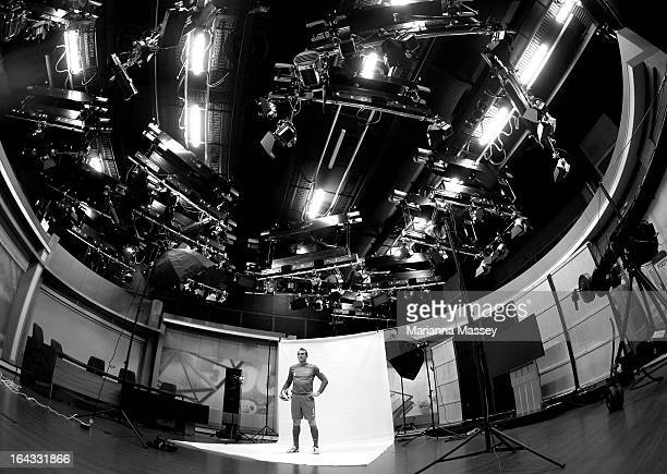 Mark Schwarzer of Australia in a behind the scenes look during a Socceroos portrait session film and interview day at Fox Studios on March 21 2013 in...