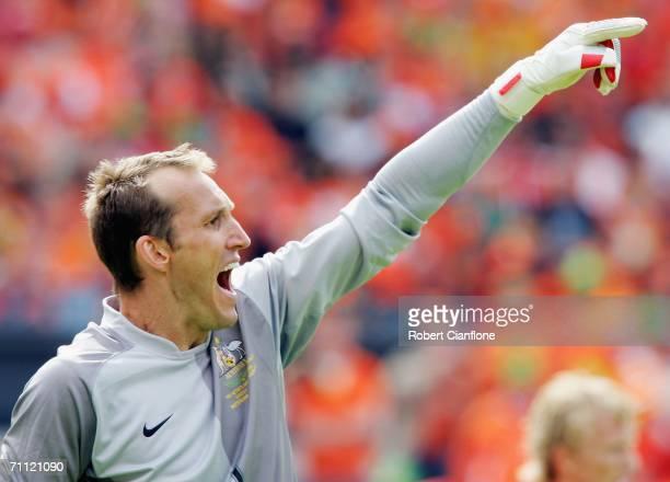 Mark Schwarzer of Australia shouts instructions during the international friendly match between Netherlands and Australia at De Kuip Stadium June 4...