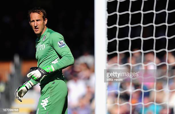 Mark Schwarzer of Fulham looks on during the Barclays Premier League match between Fulham and Arsenal at Craven Cottage on April 20 2013 in London...