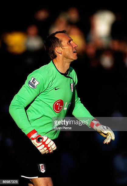 Mark Schwarzer of Fulham looks on during the Barclays Premier League match between Fulham and Liverpool at Craven Cottage on April 4 2009 in London...