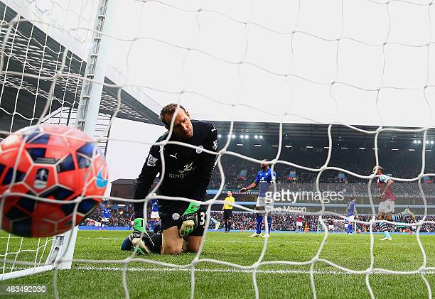 Mark Schwarzer of Leicester City reacts as the ball hits the back of the net after Scott Sinclair of Aston Villa scored their second and winning goal...