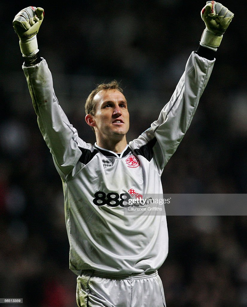 Mark Schwarzer of Middlesbrough celebrates during the Barclays Premiership match between Newcastle United and Middlesbrough on January 2, 2006 at St James Park in Newcastle, England.