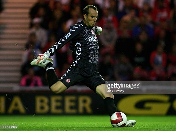 Mark Schwarzer of Middlesbrough takes a goal kick during the Barclays Premiership match between Middlesbrough and Chelsea at the Riverside Stadium on...
