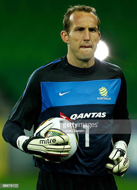Mark Schwarzer of the Socceroos warms up during an Australian Socceroos training session at AAMI Park on May 19 2010 in Melbourne Australia
