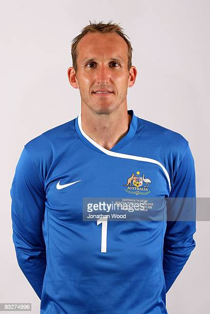 Mark Schwarzer poses during the Australian Socceroos portrait session at the Sofitel Grand Central on October 13 2008 in Brisbane Australia
