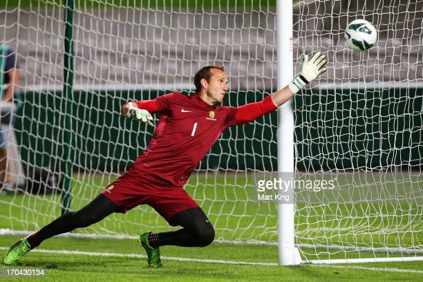 Mark Schwarzer practises goalkeeping during an Australian Socceroos training session at WIN Jubilee Stadium on June 13 2013 in Sydney Australia