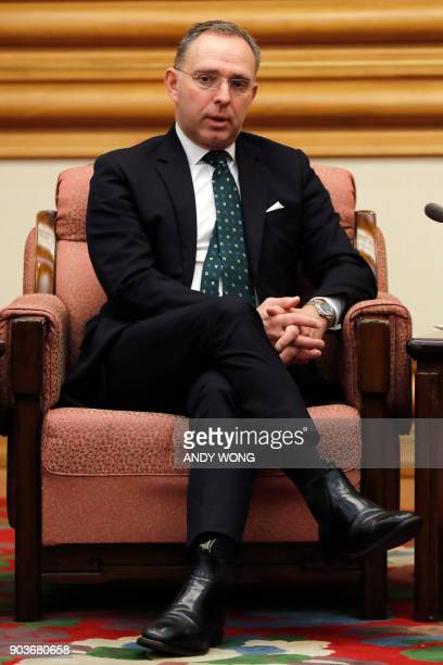 Mark Sedwill national security advisor to the British prime minister speaks during a meeting with Chinese State Councilor Yang Jiechi at the...