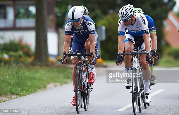 Mark Sehested Pedersen of Team TREFOR and Michael Reihs of Stolting Service Group leads the breakaway during the Elite Men Road Race Championships on...