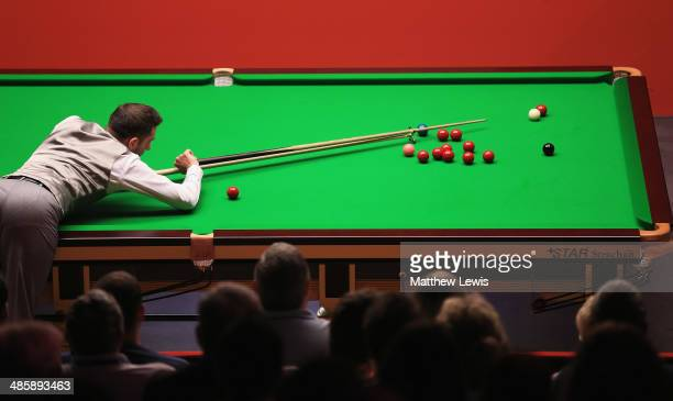 Mark Selby of England in action against Michael White of Wales during day four of the The Dafabet World Snooker Championship at Crucible Theatre on...
