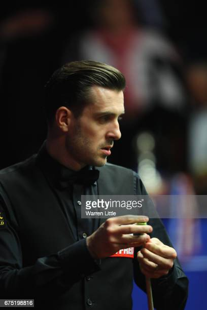 Mark Selby of England in action during the final against John Higgins of Scotland on day sixteen at Crucible Theatre on April 30 2017 in Sheffield...