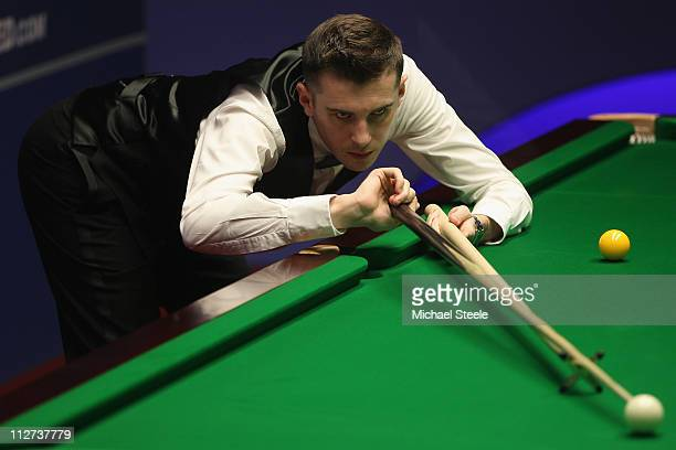Mark Selby of England in the round one game against Jimmy Robertson of England on day five of the Betfredcom World Snooker Championship at The...