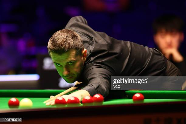Mark Selby of England plays a shot during the 2nd round match against Chen Zifan of China on day three of the 2020 ManBetX Welsh Open at the...