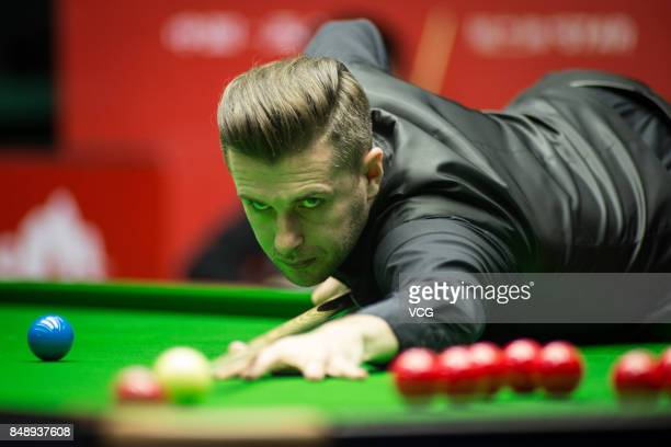 Mark Selby of England plays a shot during the qualifying match against Kritsanut Lertsattayathorn of Thailand on day one of the World Open 2017 at...