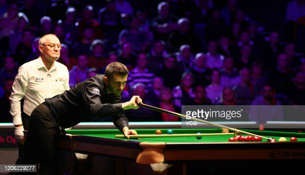 Mark Selby of England plays a shot during the quarterfinal match against Ronnie O'Sullivan of England on day five of the 2020 ManBetX Welsh Open at...