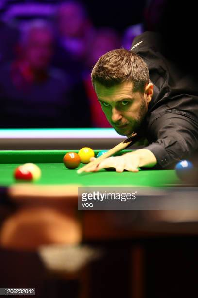 Mark Selby of England plays a shot during the quarter-final match against Ronnie O'Sullivan of England on day five of the 2020 ManBetX Welsh Open at...