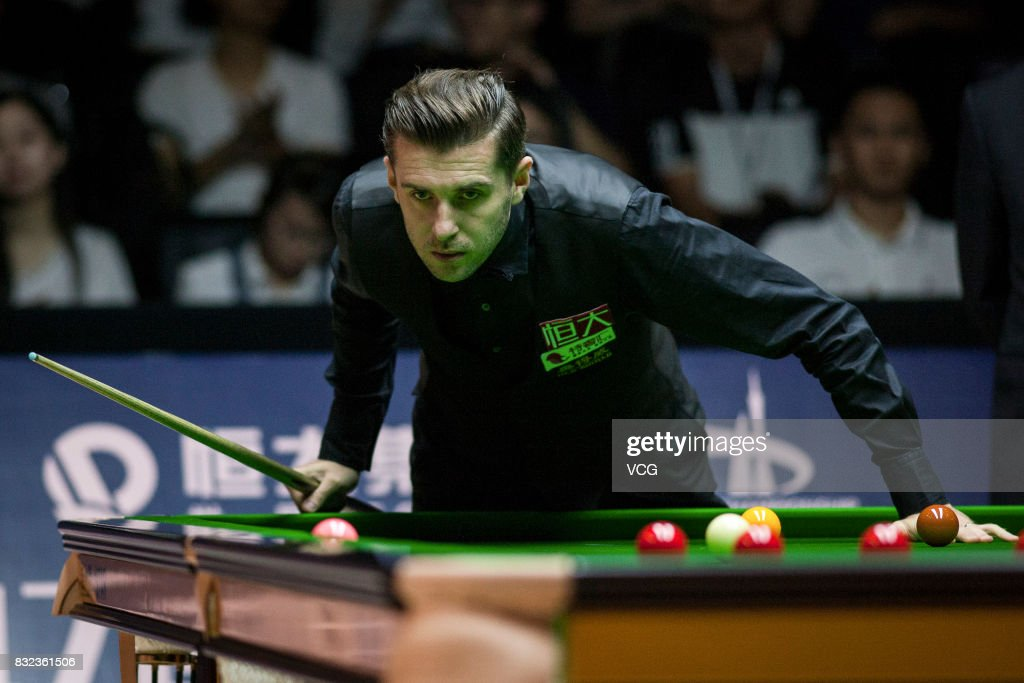 Mark Selby of England reacts during a qualifying match against Luo Honghao of China on day one of Evergrande 2017 World Snooker China Champion at Guangzhou Sport University on August 16, 2017 in Guangzhou, Guangdong Province of China.