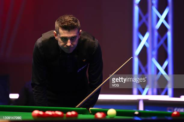Mark Selby of England reacts during a quarterfinal match against Stephen Maguire of Scotland on day four of 2020 Coral Players Championship at...