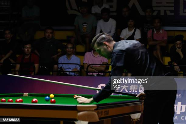 Mark Selby of England reacts during his first round match against Noppon Saengkham of Thailand on day two of Evergrande 2017 World Snooker China...