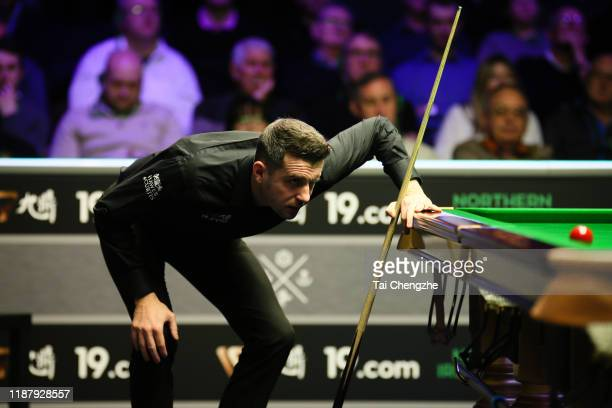 Mark Selby of England reacts during the quarterfinal match against John Higgins of Scotland on day five of 2019 Northern Ireland Open at Waterfront...