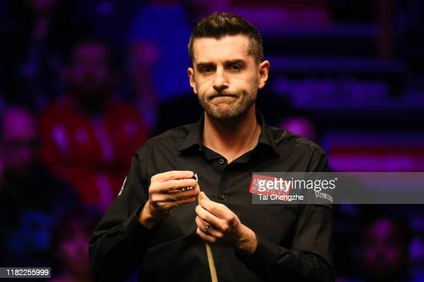 Mark Selby of England reacts in the final match against David Gilbert of England on day seven of 2019 English Open at K2 Leisure Centre on October 20...