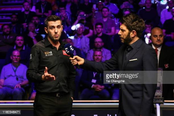 Mark Selby of England receives an interview after winning the final match against David Gilbert of England on day seven of 2019 English Open at K2...